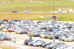 Cars in the airport parking lot at DIA Royalty Free Stock Photography