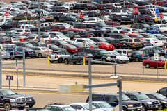 Cars in the airport parking lot at DIA Royalty Free Stock Images