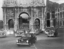 Cars and ancient monuments Rome Italy Royalty Free Stock Photography