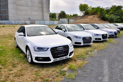 Cars Audi parks in row Stock Images