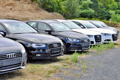 Cars Audi parks in row Stock Image
