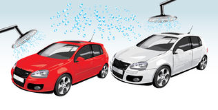 Cars on the auto washing. Abstract composition. Vector illustration Royalty Free Stock Photography