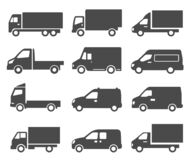 Free Cars  Autos  Trucks Black Icons Set Isolated On White. Lorry  Van  Camion Pictograms Collection Stock Photography - 204902062
