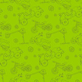 Cars background. Seamless  texture, with cars, bike, scooters. Sketchy, doodle style illustration Stock Photos