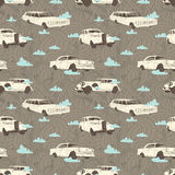 Cars background. Seamless pattern with vintage cars on tne background or sky, clouds and arrows. Vector illustration Stock Images