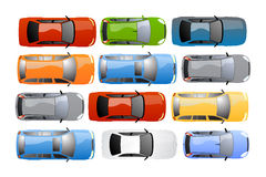 Cars background vector. Vector collage of different cars, seen from above, for car resellers and web sites