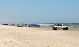 Cars on the beach of Padre Island Stock Photos