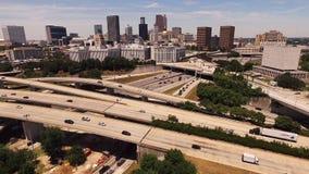 Atlanta Georgia Rush Hour Traffic Dusk Downtown City Skyline stock video