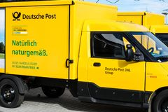 German postal company before holidays and staff shortages stock photography