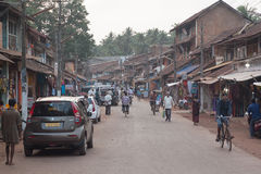 Cars, bicycles, motorbikes and people. City view in Kannada Karnataka, India Royalty Free Stock Image