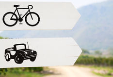 Cars and Bikes Way Sign Royalty Free Stock Photos