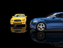 Cars On Black Background Stock Photography