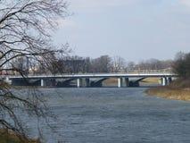 Cars bridge over the river stock photo