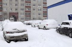 The cars brought by snow, stand on a road roadside. Stock Photo