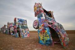 Cars buried at Cadillac ranch, Amarillo, Texas stock photos