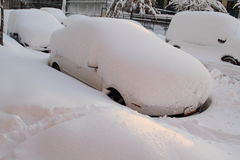 Cars Buried in Snow Stock Photography