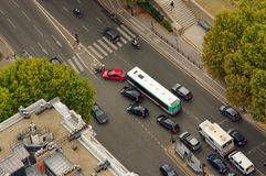 Cars in busy intersection. Aerial view Royalty Free Stock Image
