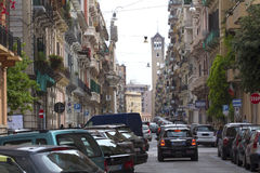 Cars on a busy street in Taranto, Puglia, Italy. Royalty Free Stock Photography