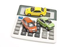 Cars on calculator Stock Photography