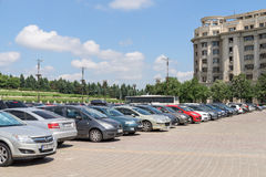 Cars In Car Parking Lot In Front Of Parliament Palace Stock Images