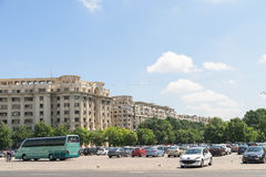 Cars In Car Parking Lot In Front Of Parliament Palace Royalty Free Stock Photos