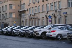 Cars on a car parking in Moscow royalty free stock photo