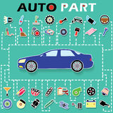 Cars and car parts sticker info graphic on a green background an Royalty Free Stock Images