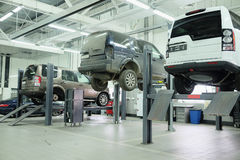 Cars in a car-repair center in Moscow Royalty Free Stock Photos