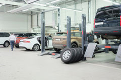 Cars in a car-repair center in Moscow Stock Photography