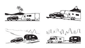 Cars with caravans and camper. Vector illustration Stock Images