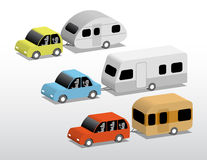 Cars with caravans. A set of three small cars with caravans, 3d cartoon illustration Royalty Free Stock Photos
