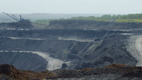Cars carry coal Timelapse. Most of the coal industry, BelAZ carry 220 tons of coal stock footage
