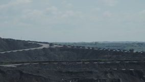 Cars carry coal Timelapse. Most of the coal industry, BelAZ carry 220 tons of coal stock video footage