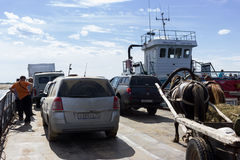 Cars and cartage on ferryboat Royalty Free Stock Image