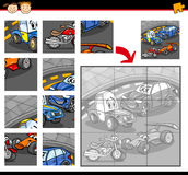 Cars cartoon jigsaw puzzle game Stock Photos