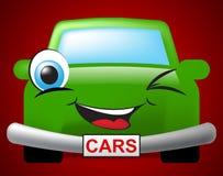 Cars Cartoon Represents Autos Drive And Motor Stock Image