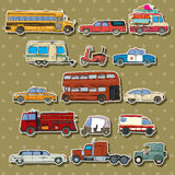 Cars cartoon stickers. Cars and transportation sticker set, cartoon illustration Stock Images