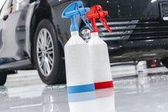 Cars in a carwash. Car wash with foam in car wash station. Carwash. Washing machine at the station. Car washing concept. Car detai. Ling royalty free stock photography