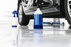 Cars in a carwash. Car wash with foam in car wash station. Carwash. Washing machine at the station. Car washing concept. Car detai. Ling royalty free stock image