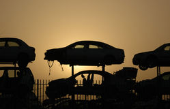 Cars Cemetery. At sunset Royalty Free Stock Image