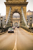 Cars on Chain Bridge. Budapest Stock Photo