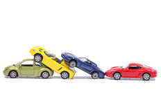 Cars in a chain crash Royalty Free Stock Photography
