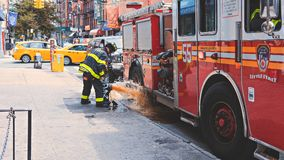 Cars, City, Fire Royalty Free Stock Image