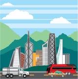 Cars city landscape vector Stock Image