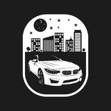 Cars city night black and white. Amazing designs for your stickers or tshirt vector illustration