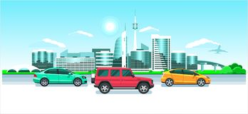 Cars on the city panorama. Seaside sunrise or sunset, a picturesque landscape with modern snowy buildings, tv tower, jet & multico. Cars on the city panorama Royalty Free Stock Photography