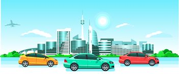 Cars on the city panorama. Seaside sunrise or sunset, a picturesque landscape with modern snowy buildings, tv tower, jet & multico. Cars on the city panorama Stock Photography