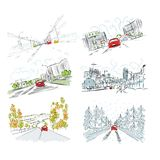 Cars on city road, set of hand drawn illustrations stock illustration