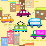 Cars in city seamless background Stock Photo