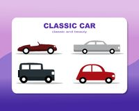 Cars on classic, classic and beautiful flat style vector illustration